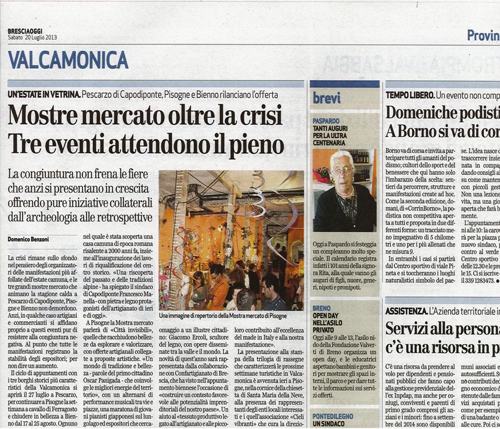 Bresciaoggi -  Sabato 20 luglio 2013