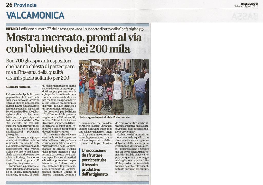 Bresciaoggi -  Sabato 3 agosto 2013