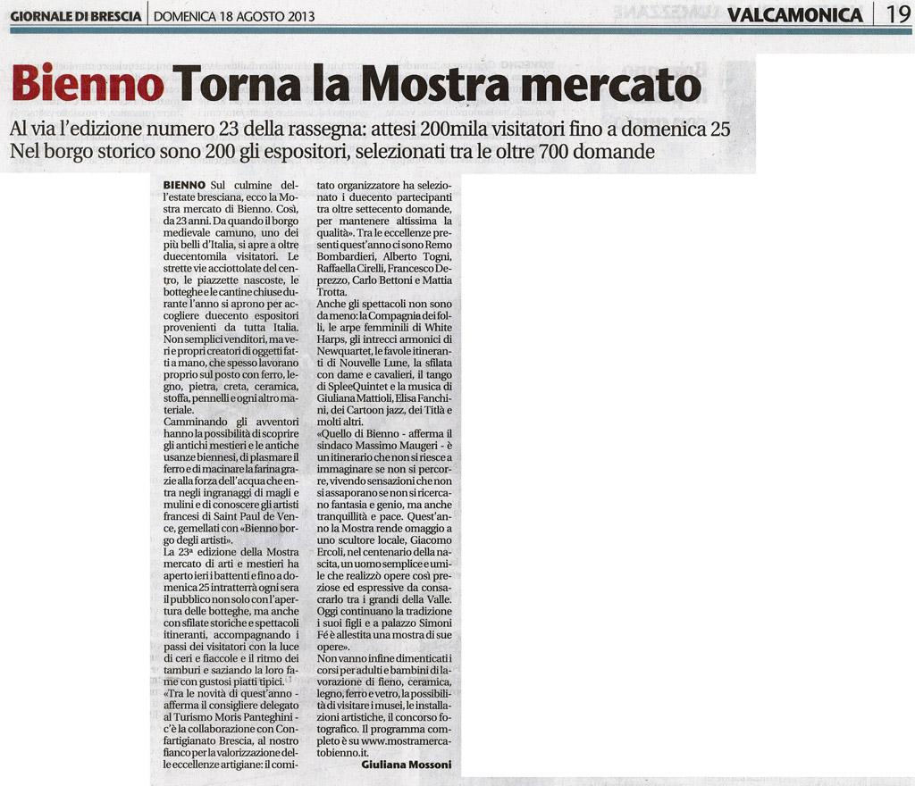 Giornale di Brescia - Domenica 18 agosto 2013