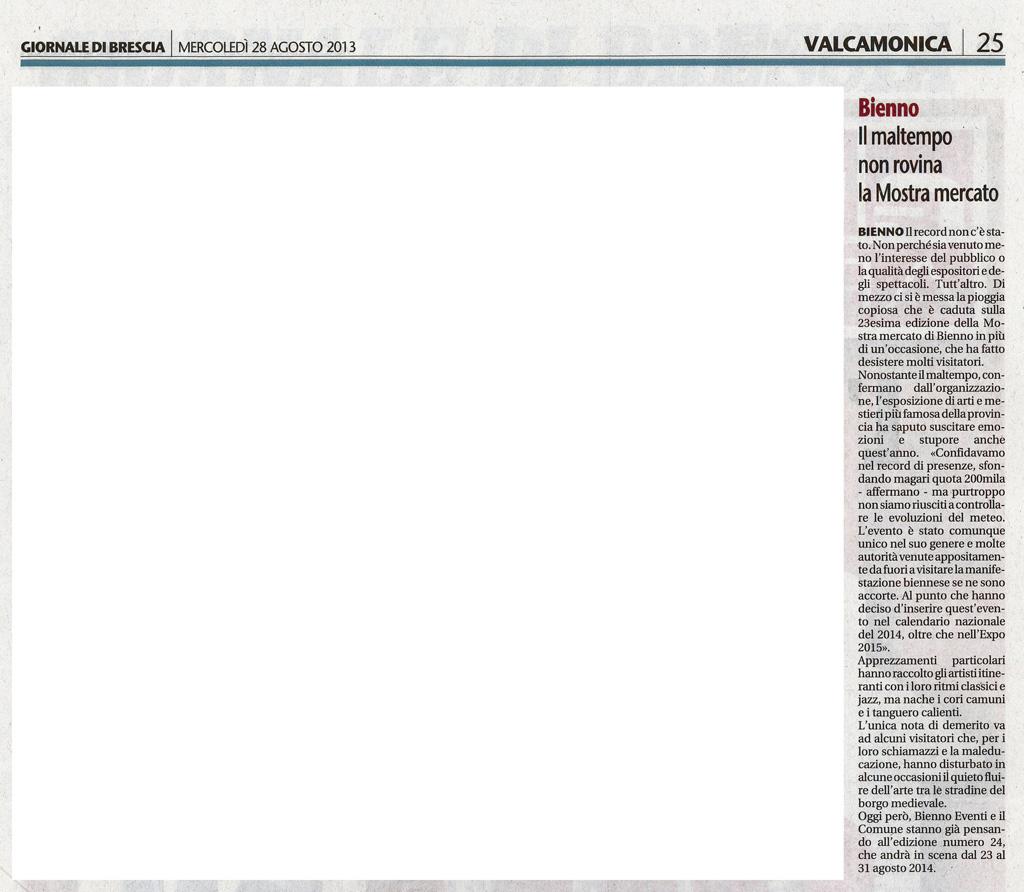 Giornale di Brescia - Mercoledì 28 agosto 2013