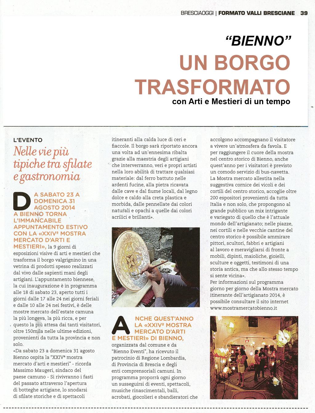 Bresciaoggi -  Inserto luglio 2014