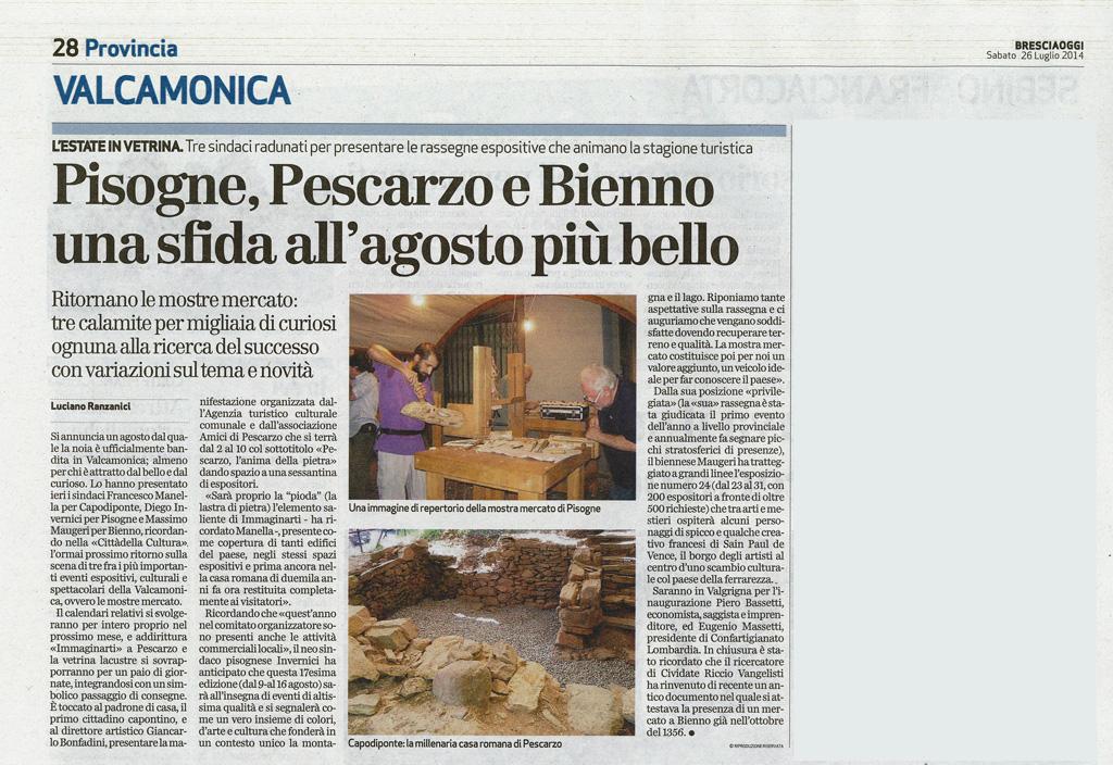 Bresciaoggi -  Sabato 26 luglio 2014