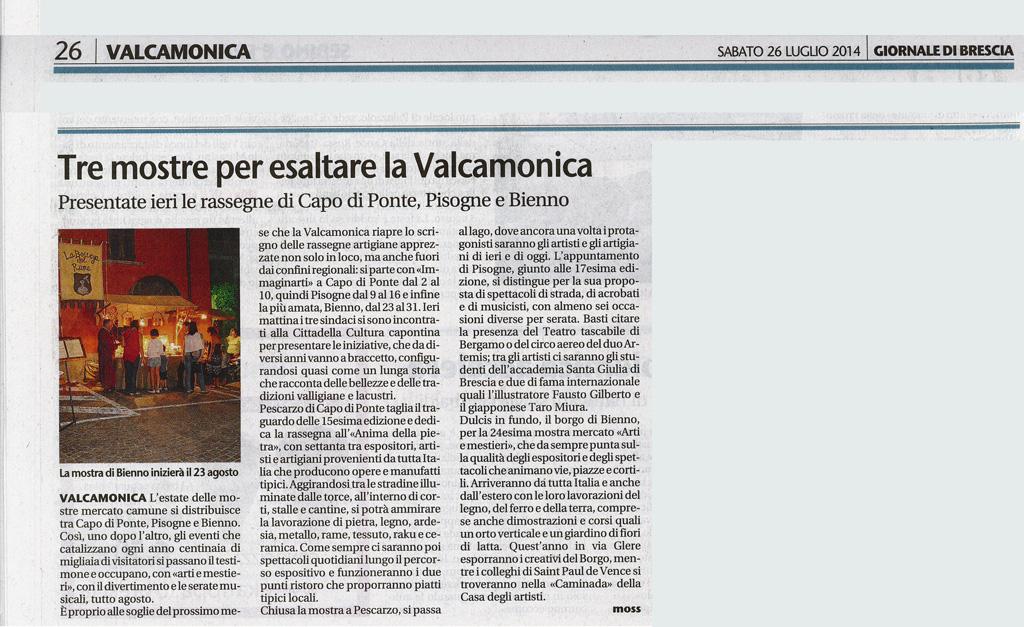 Giornale di Brescia - Sabato 26 luglio 2014