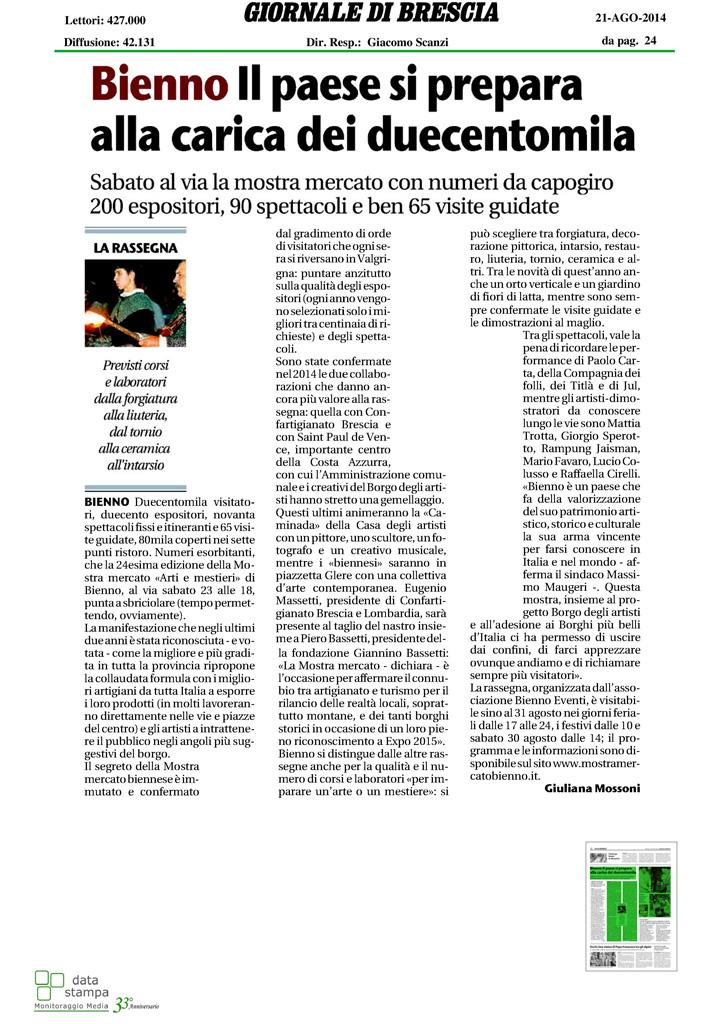 Giornale di Brescia - Giovedì 21 agosto 2014 pag.1