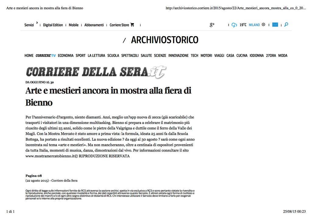 Corriere della sera.it - sabato 22 agosto 2015
