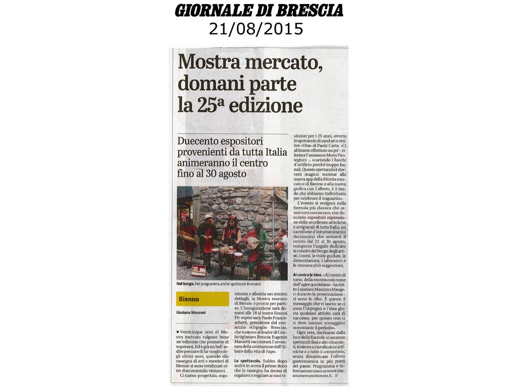 Giornale di Brescia - venerdi 21 agosto 2015