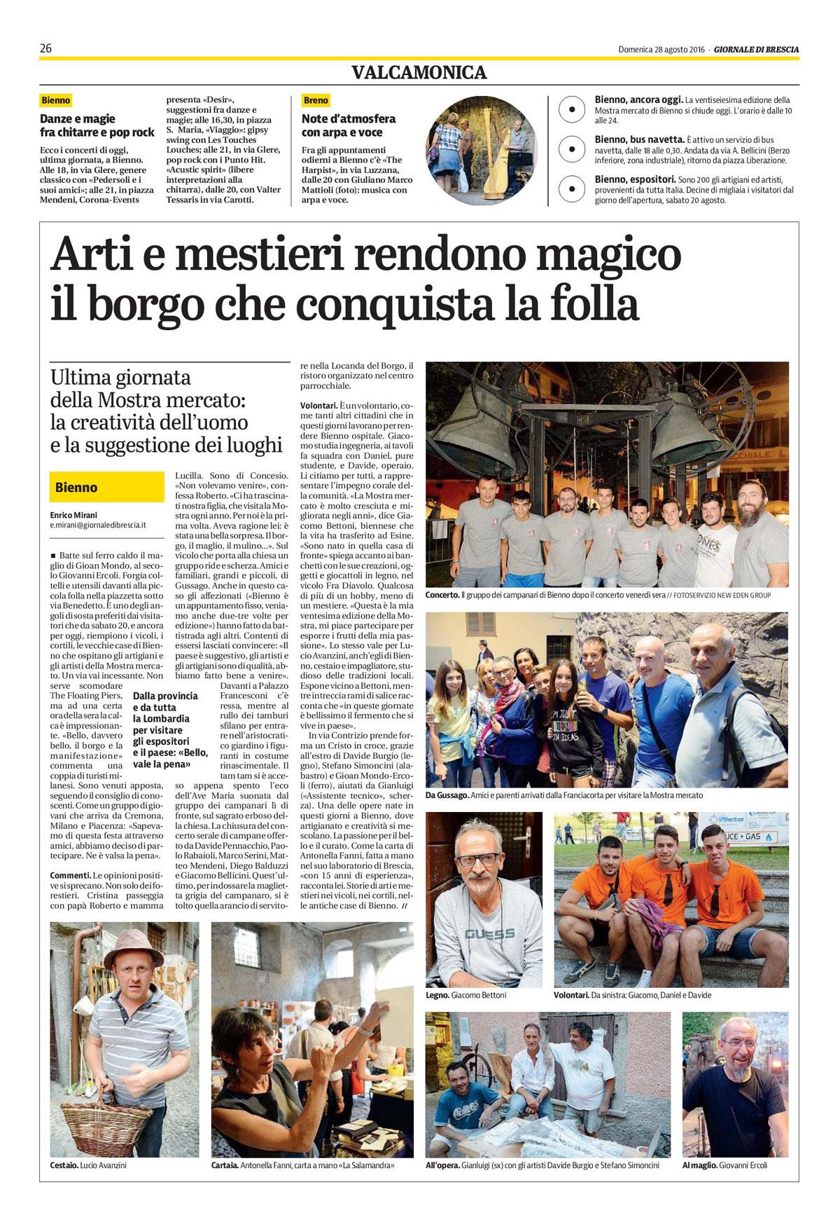 Giornale di Brescia - domenica 28 agosto 2016