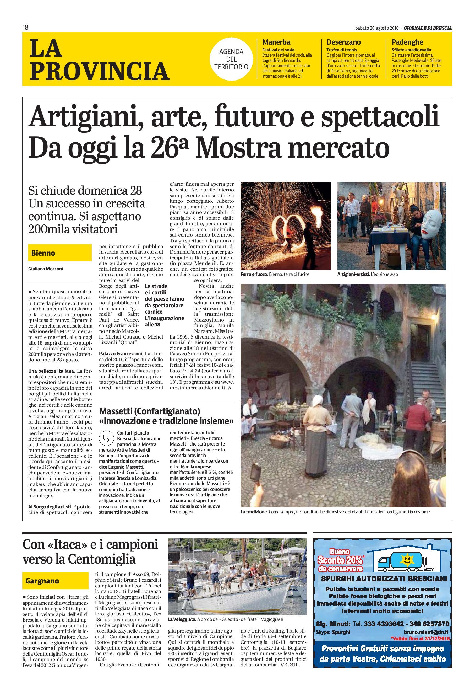 Giornale di Brescia - la provincia - sabato 20 agosto 2016