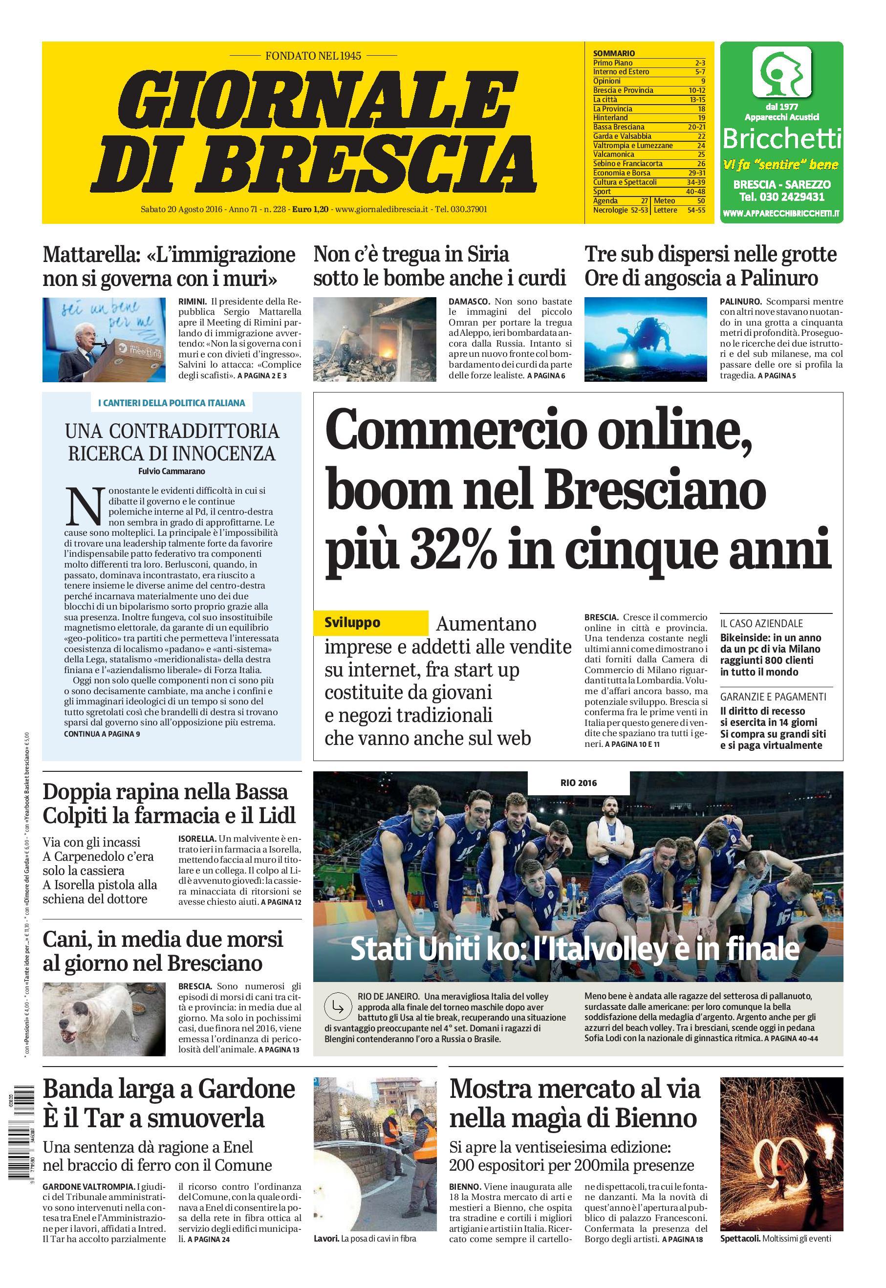 Giornale di Brescia - sabato 20 agosto 2016